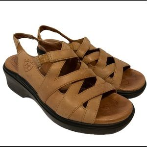 ARIAT Brown Leather Strappy Sandals